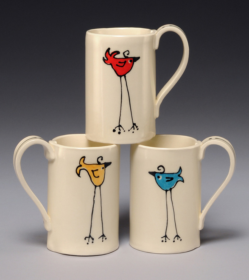Cheryl Kempner - bird mugs