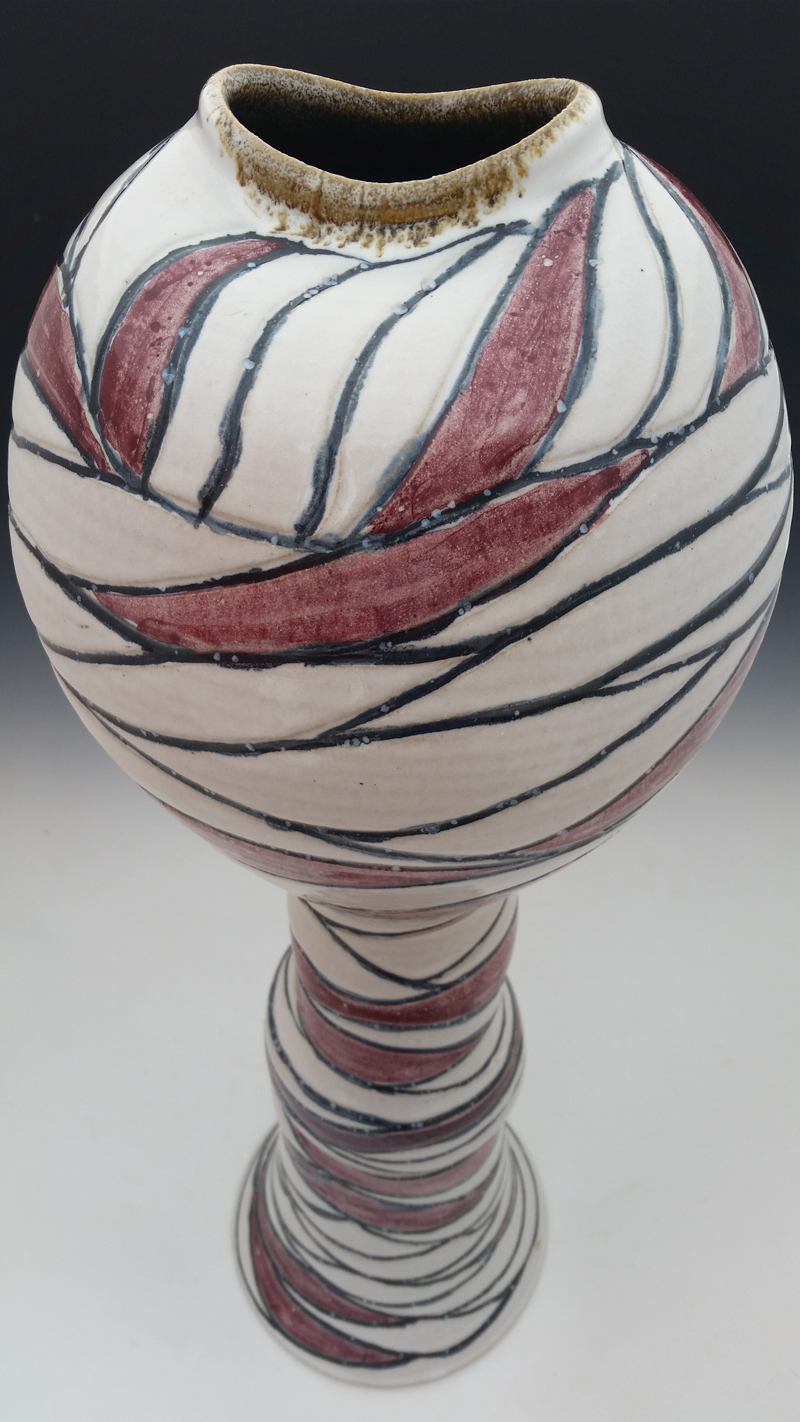 Michael McKinney-red-white tall vase